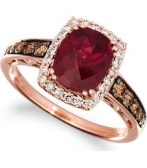 le vian creme brulee raspberry rhodolite (2-1/3 ct. t.w.) & diamond (3/8 ct. t.w.) ring in 14k rose gold