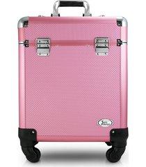maleta profissional com rodinhas de 360º alumínio jacki design beauty rosa - kanui