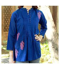 cotton blouse, 'bengali blue' (india)