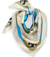 women's tory burch compass silk square scarf, size one size - green