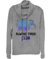 fifth sun juniors winnie the pooh eeyore tired club fleece cowl neck sweatshirt