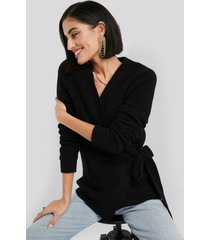 na-kd trend alpaca wrap around knitted sweater - black