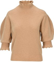 chloé chloe high neck balloon sleeves sweater