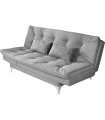 sofá cama 3 lugares versátil império estofados cinza