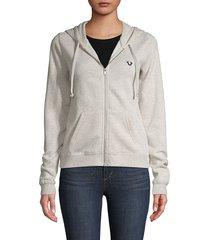 true religion women's zip-front cotton-blend fleece hoodie - black - size xl