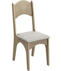 cadeira estofada 100% mdf ca18/2 carvalho/geométrico - dalla costa