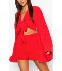 flare sleeve top & frill hem shorts co-ord, red