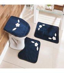 jogo de banheiro bordado 3 peã§as antiderrapante margarida azul marinho - multicolorido - dafiti