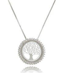 colar drusi semi joias medalha arvore da vida cravejada prata