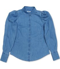 bar iii chambray puff-shoulder shirt, created for macy's