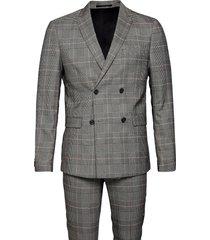 checked suit kostym brun lindbergh