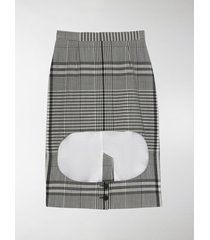 burberry check technical step-through skirt