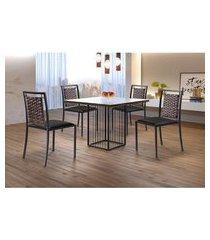conjunto de mesa de jantar hera com tampo de vidro mocaccino e 4 cadeiras grécia ii couríssimo preto e grafite
