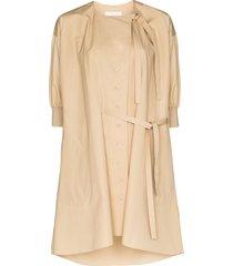chloé button-front shirt dress - neutrals