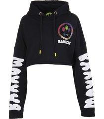 barrow black crop hoodie with logo and prints