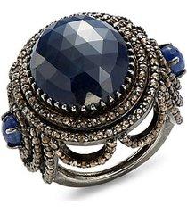 black rhodium-plated sterling silver sapphire & diamond ring