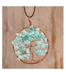 aquamarine pendant necklace, 'capricorn tree of life' (costa rica)