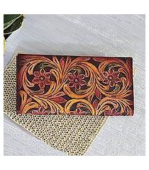 leather wallet, 'floral swirls' (india)