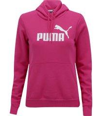 blusão de moletom com capuz puma essentials logo hoody fleece - feminino - rosa