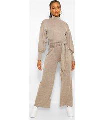 cut & sew jumpsuit met vleermuismouwen en col, kameel