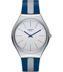 reloj análogo azul swatch