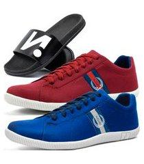 kit 2 pares de sapatênis casual dhl masculino vermelho e azul + chinelo slide