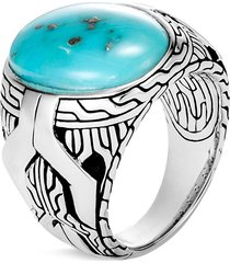 'asli classic chain' turquoise pyrite silver signet ring