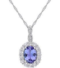saks fifth avenue women's 14k white gold & multi-stone pendant necklace