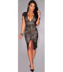 deep v-neck women lady sequin bodycon slim party dress short sleeve party dress