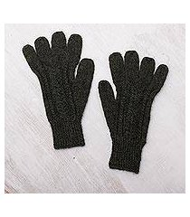 100% alpaca gloves, 'winter walk in pine green' (peru)