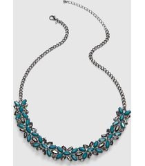 lane bryant women's faceted stone cluster necklace onesz deep teal