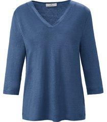 shirt 100% linnen v-hals van peter hahn pure edition blauw