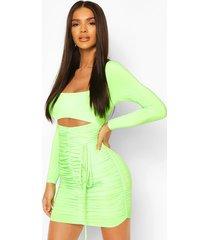 neon square neck ruched mini dress, green