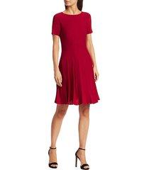 theory women's pleated t-shirt mini dress - dark crimson - size l