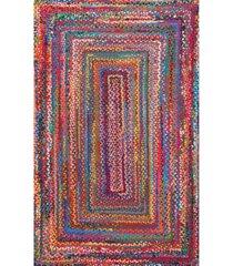 nuloom nomad hand braided tammara cotton multi 6' x 9' area rug