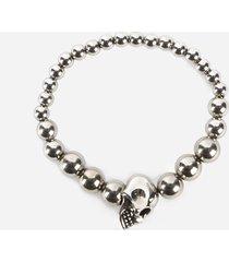 alexander mcqueen skull bracelet with pearls