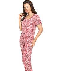 pijama vincullus aberto coral - kanui
