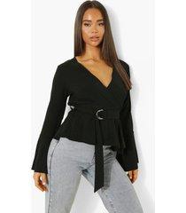 blouse met wijde mouwen en ceintuur, black