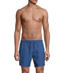 bertigo men's geometric-print swim shorts - blue - size xxl