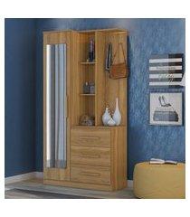 armário cômoda multiuso 1 porta c/ espelho brisa demóbile amêndoa