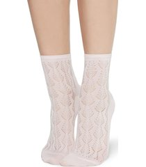 calzedonia - openwork cotton socks, one size, pink, women