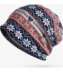 donna berretto bonnet a maglia elastica stampato a fiocchi di neve collare antiventoso caldo