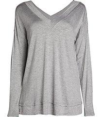 layered-hem v-neck knit top