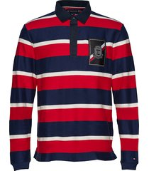 herringb textured polos long-sleeved rood tommy hilfiger