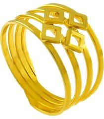 anel horus import losangos quatro fios banhado ouro amarelo 18 k - 1010031