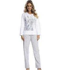 pijama recco moletinho flanelado branco - kanui