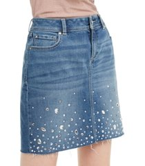inc embellished denim skirt, created for macy's