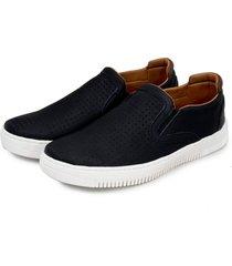 sapatenis iate br2 footwear conforto casual couro preto - preto - masculino - dafiti