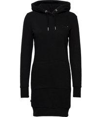 orange label sweat dress knälång klänning svart superdry