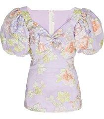 lilac floral print blouse
